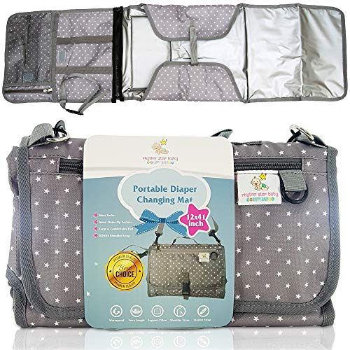 Portable Diaper Changing Pad Clutch Bag - Multiple Pockets, Integrated Support Pillow, Large Baby Travel Changing Mat Station - (27 x 22) inch - Bonus Shoulder Strap - Gray & White Unisex Star Design ()