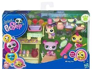 Hasbro Littlest Pet Shop y sus accesorios Fiesta sorpresa - Set de 3 mascotas con accesorios tematizados (conejo de angora, gato, perro)