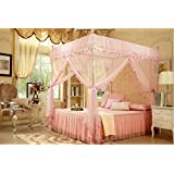 4 Corners Post Pink Elegant Mosquito Net Bed Tent Canopy Curtain Netting Princess (Twin) by bed canopy net