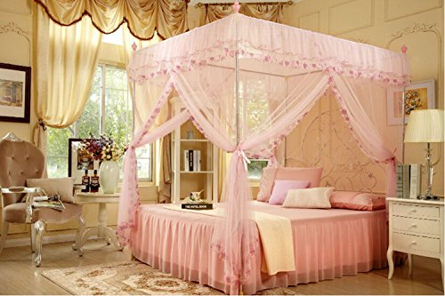 4 Corners Post Pink Elegant Mosquito Net Bed Tent Canopy