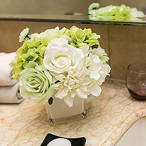 KaiPoint Plastic Flower Table centerpieces Fake Flower Dahlia vase Decor Artificial Flower Small Set Living Room Desk Decoration 25