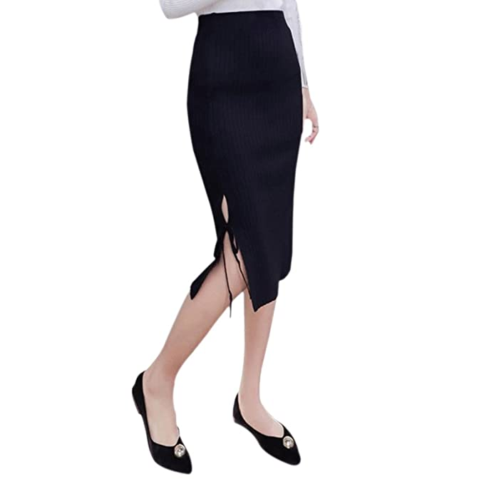 Womens Fashion Slim Cotton Knitted Long Skirts Side Split High Waist Hip Pencil Skirts at Amazon Womens Clothing store: