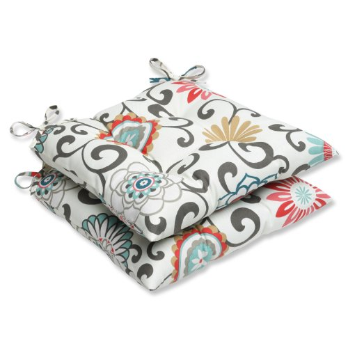 Pillow Perfect Outdoor Pom Pom Play Peachtini Wrought Iron Seat Cushion, Set of 2 - Pattern Cushion