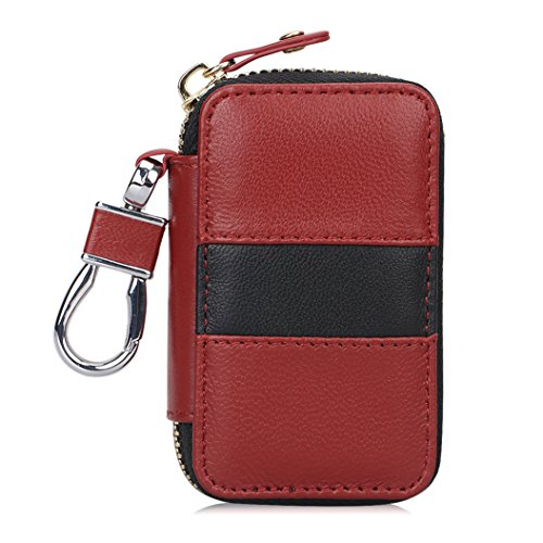 Case Dimensions Wine (FYY Genuine Leather Keychain Bag, Handmade Car Keyring Holder Metal Hook and Wallet Zipper Case for Auto Remote Key Fob Wine Red)