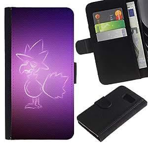 KingStore / Leather Etui en cuir / Samsung Galaxy S6 / Pájaro púrpura
