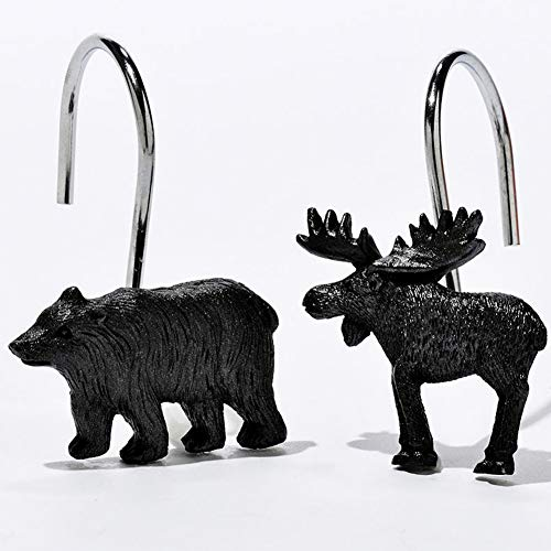 DS BATH Woodland Black Bear Shower Curtain Hooks,Lodge Bathroom Curtain Hooks,Decorative Animal Hooks for Shower Curtains,Set of 12