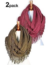 Women Winter Warm Knit Infinity Scarf Tassels Soft Shawl Various Colors
