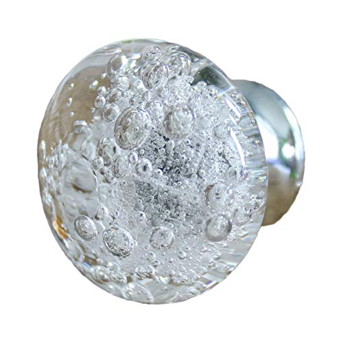 (Clear Glass Drawer Knobs with Silver Base and Bubbles)