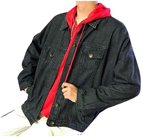 Jeans Il Mens Nero Giubbotto Tasche Verso Denim Basso Girano E Mogogo Di Collare Con Breve Bottoni Cappotto fx7nqUdCw