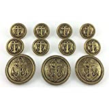 MetalBlazerButtons.com Brand ANTIQUE GOLD Finished NAVAL ANCHOR (On Lines) METAL BLAZER BUTTON SET ~11 Buttons [SINGLE BREASTED SET] Metal Buttons Blazers, Sport Coats, Jackets & Military Uniforms