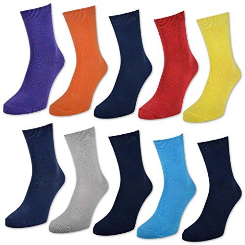 10 Paar Kinder Socken für Jungen & Mädchen - Baumwolle - versch. Farben & Größen - 50004 (35-38, Gedeckte Farben)