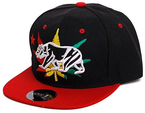Weed-Marijuana-Leaf-Snapback-Flat-Visor-Hat-Cap-Includes-Free-Bandana-Bear-Logo-One-Size-RedBlack