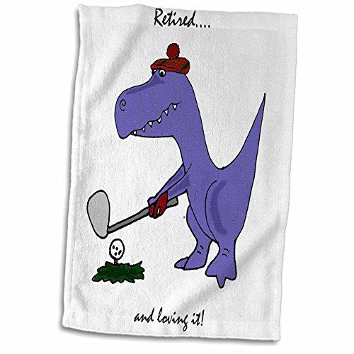 (3D Rose Funny Retired Blue Trex Dinosaur Playing Golf twl_203785_1 Towel, 15