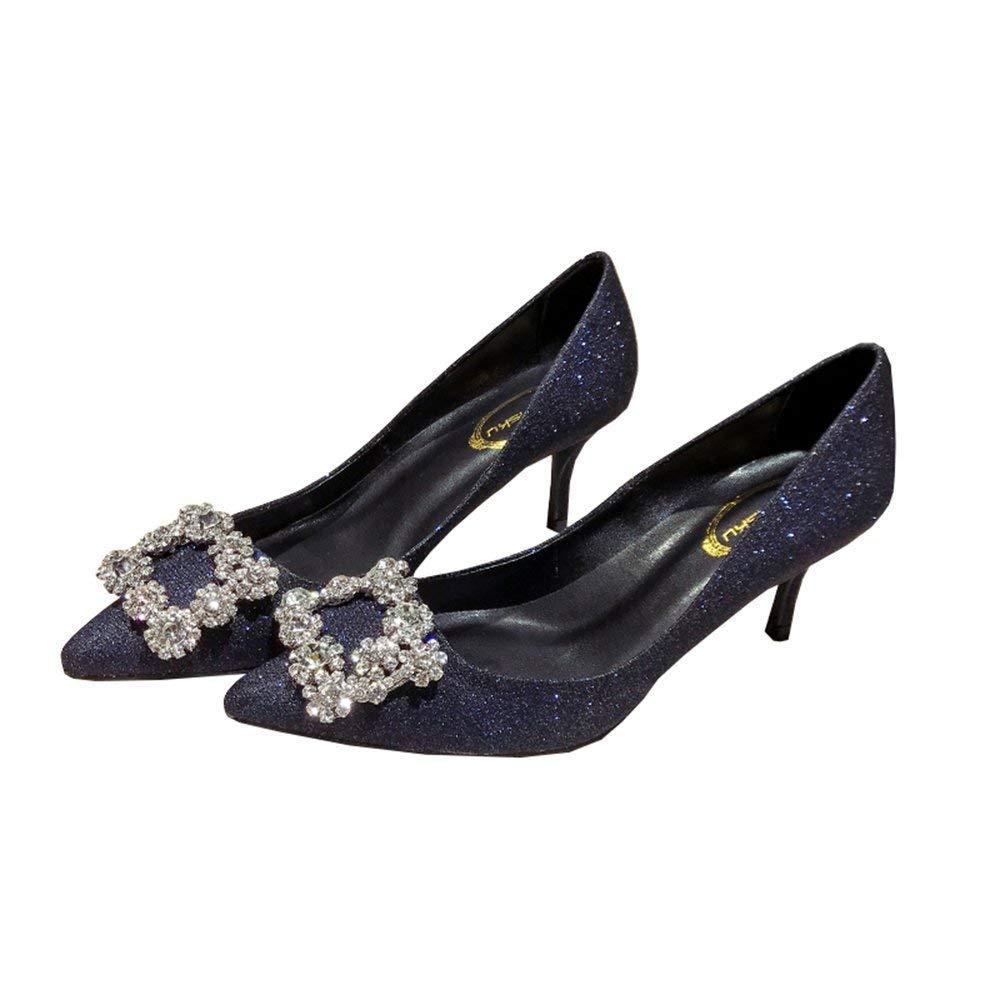 Moontang Schuhe 6,5 cm Europa Europa Europa und die Vereinigten Staaten Blau Pailletten Party Schnalle Strass Spitzen High Heels Frauen Mit Sexy Shallow Grün (Farbe   Blau Größe   37 EU) 8200a5