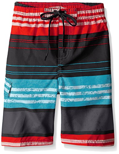 Kanu Surf Little Boys' Halo Stripe Swim Trunk, Black/Red, Large (7) ()