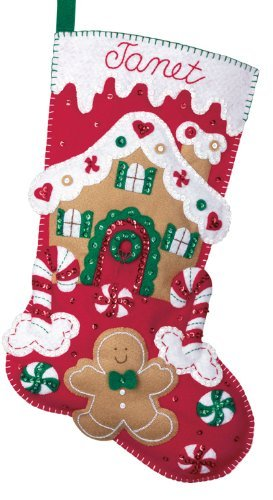 Christmas Stocking Kit.Bucilla Felt Applique Christmas Stocking Kit Gingerbread House