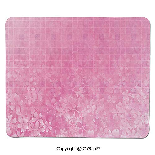 Ergonomic Mouse pad,Fractal Square Shaped Forms with Flower Garden on Front Spring Illustration,for Computer,Laptop,Home,Office & Travel(15.74