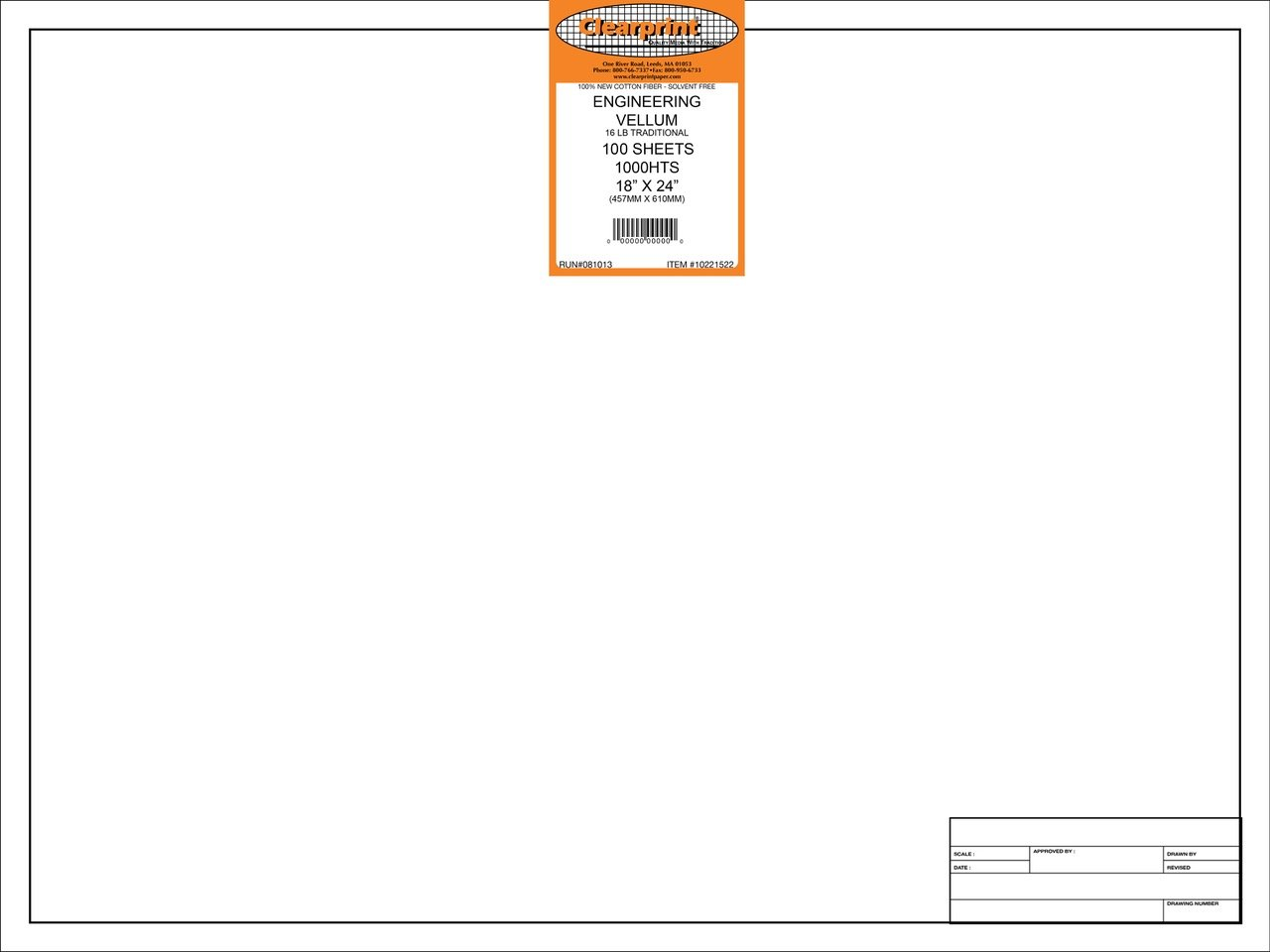 Clearprint 1000H Design Vellum Sheets with Engineer Title Block, 16 lb, 100% Cotton, 18 x 24 Inches, 100 Sheets Per Pack, Translucent White (10221522)