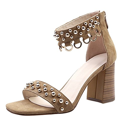 Carolbar Women's New Style Decorations Block High Heel Zip Sandals apricot S50POn