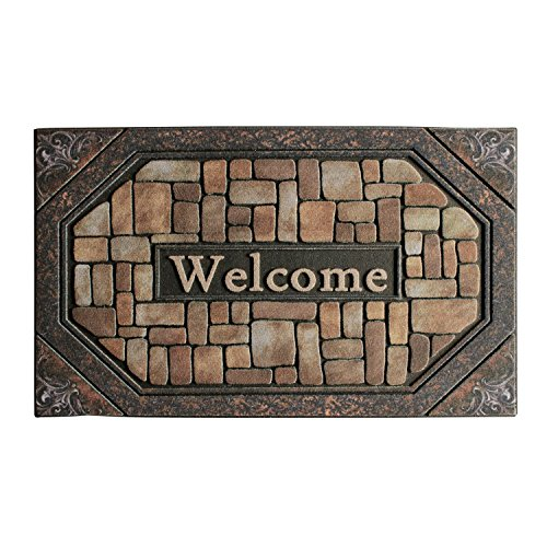 Front Door Mat Entrance Rug Floor Mats, Waterproof Floor Mat Shoes Scraper Doormat, 18''x30'' Patio Rug Dirt Debris Mud Trapper Outdoor Welcome Door Mat Carpet (Welcome) by Waroom Home