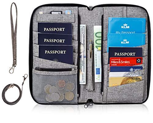 Valante Premium Family Travel Document Organizer Capacious RFID Passport Holder Wallet (Large, gray) (Best Travel Document Holder)