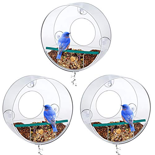 - Birdious 3-Pack Tube Window Bird Feeder - Watch Wild Birds from Home - Removable Tray, Large Squirrel Proof Birdhouse for Outside, Clear See Through, Strong Suction Cups - Decorative Round Design