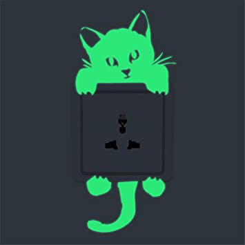Wall Decor Decals Art Mural Funny Cute Black Cat Home Wall Stickers Light-Switch