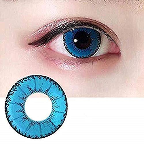 Women Multi-Color Contact Lenses Cosplay Eyes Cute Colored Charm and Attractive Cosmetic Makeup Eye Shadow (Blue1)]()