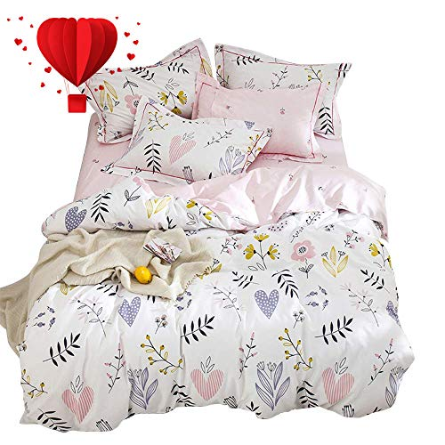 - BuLuTu Floral Love Print Twin Girls Duvet Cover with Fitted Sheet,4 Pieces Reversible Blossom Kawaii Colorful Bedroom Comforter Cover Bedding Sets Cotton White Pink,No Comforter
