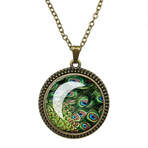 Crystal Necklace Peacock Feather Ethnic Style jewelry pendant Bronze Charm by Pretty Lee