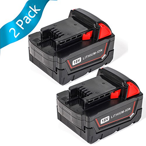 SISGAD 18V 5.0Ah Lithium-ion Replacement Battery for Milwaukee M18 48-11-1850 48-11-1852 48-11-1820 48-11-1828 48-11-10 XC Redlithium Cordless Tools Battery ( 2 Packs ) by SISGAD