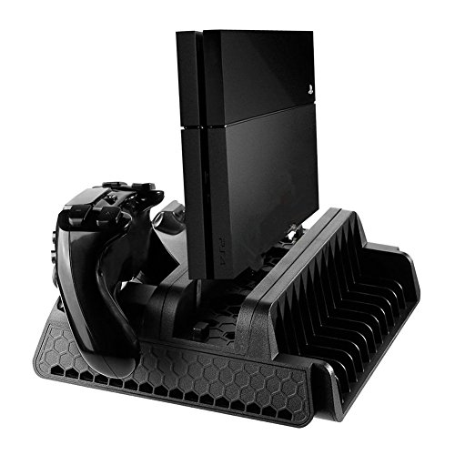 Gentman Vertical Stand for PS4/PS4 Slim/PS4 Pro with 3 Cooling Fans Dual Controllers Charging Station Game Disc Storage for PS4/PS4 Slim/PS4 Pro PlayStation 4 Accessory