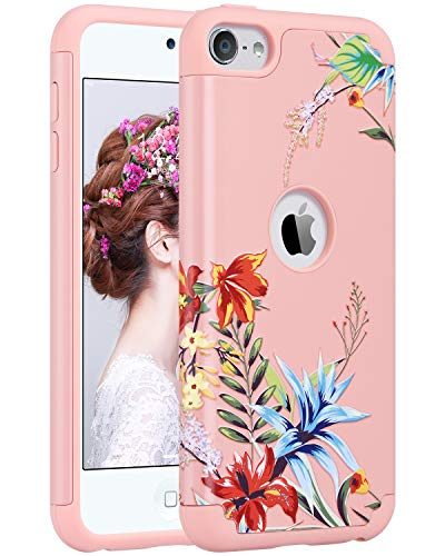ULAK iPod Touch 7th Generation Case, Case for iPod Touch 5 & 6, Slim Fit Protective Hybrid Dual Layer Soft Silicone and Hard Back Cover for Apple iPod Touch 5th -