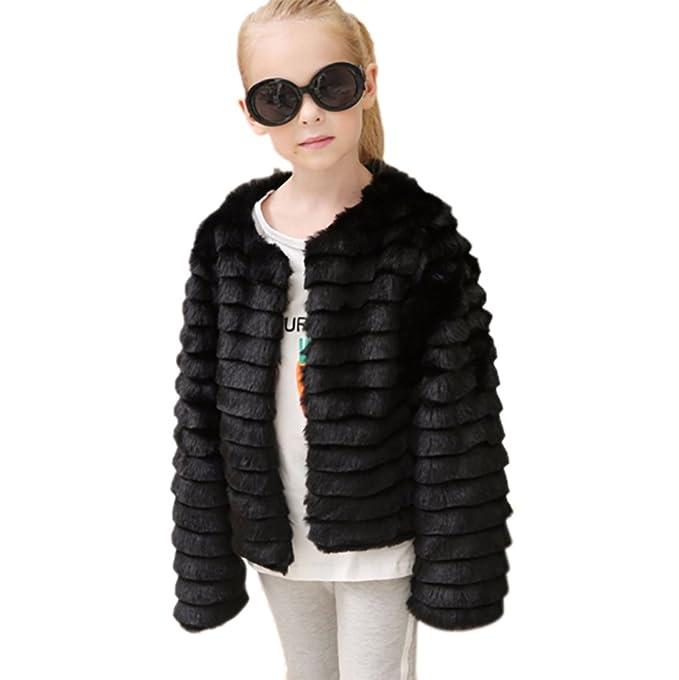 VLUNT Abrigo de Piel para Niños Chaqueta Pelo Chica Ropa Invierno Niña Tops Mangas Largas Abrigo de Pelo Chica Tops Piel Winter Fur Coat (Negro): Amazon.es: ...