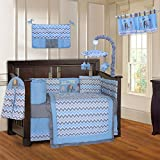 BabyFad Elephant Chevron Blue 10 Piece Baby Crib Bedding Set