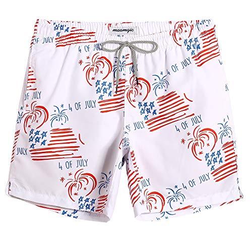 d0438bc4624 MaaMgic Mens Short Swim Trunks Boys Quick Dry Beach Broad Shorts Swim Suit  with Mesh Lining