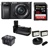 Sony Alpha a6300 Mirrorless Digital Camera, 16-50mm Lens + Battery Power Grip, Extreme PRO 32GB, Case Bundle