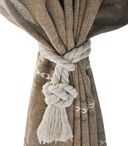 Shinywear Cotton Handmade Ball Knot Curtain Rope Tassel Vintage American Style Drapery Holders Ties,Set of 2 Pieces (White)