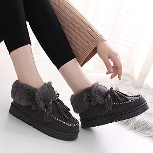 GIY Womens Suede Snow Ankle Boots Winter Warm Velvet Lined Round Toe Flat Tassel Slip On Snow Bootie Gray jEq4VOlgv