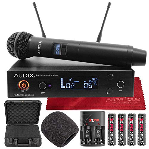 Audix AP41 OM2 Wireless Microphone System with Handheld Microphone Transmitter and Accessory Bundle