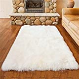 AUFELL Faux Sheepskin Rug ,Rectangular,Fur Faux Fleece Fluffy Area Rugs Anti-Skid Yoga Carpet for Living Room Bedroom Sofa Floor Rugs (White, 19.7 x 59 inch)
