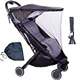 2 in 1 Baby Carriage Sunshade Universal Screen Cover Mosquito Net Awning Sun Visor Extender Anti-UV Umbrella Light Cover Windshield Waterproof Multi-Color Optional (Color : Black)