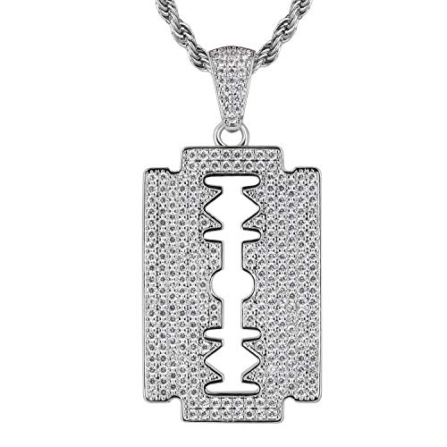 KRKC&CO Iced Out Double-Edged Razor Blade Pendant, with 3mm 22