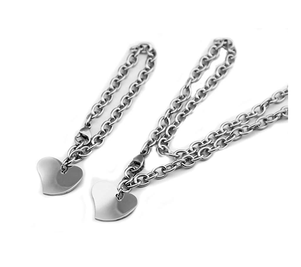 Set 1800skull Stainless Steel 316L Engravable Heart Charm Bracelet 7.5 in and Neckalce 19in