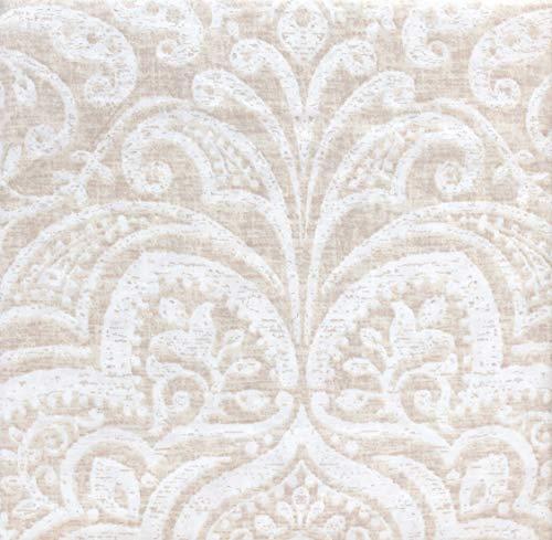 Modern Farmhouse 3 Pc Duvet Set White Floral Medallion Pattern on Tan/Light Beige, Vintage Washed Percale Cotton ()