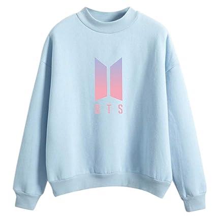 JAGENIE Mujer Hombre BTS Gradient Color Logo Pullover Sudaderas sin Capucha Sudadera Streetwear