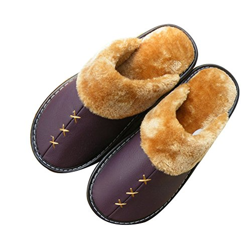 Soft Women TELLW Slippers Indoor For Cowhide Leather permeability Slippers and Lovers Men Warm Winter qHwq0xCv