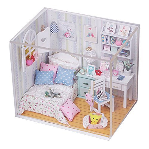 Goody DIY Wood Dollhouse miniature with LED Furniture cover Kits Doll house r