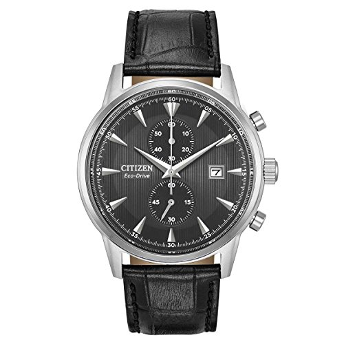 Citizen Men's 'Eco-Drive' Quartz Stainless Steel and Leather Dress Watch, Color:Black (Model: ()