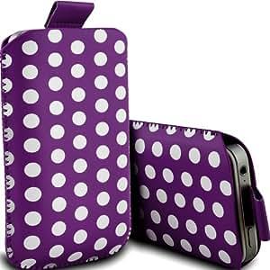 ONX3 Alcatel One Touch 20.00 Leather Slip protectora Polka PU de cordón en la bolsa de la liberación rápida (púrpura y blanco)